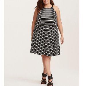 Torrid Black & White Striped Jersey Tank Dress